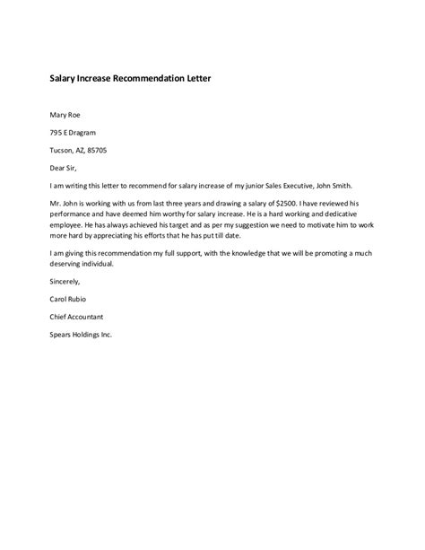 appreciation letter with salary increment salary increase recommendation letter