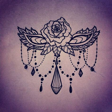 rose and beads tattoo sternum design ink