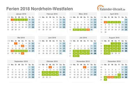 Kalender 2018 Mit Ferien Nrw Ferien Nordrhein Westfalen 2018 Ferienkalender Zum