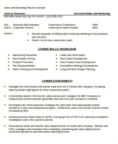 mba resume sles sle mba marketing resume 6 exles in word pdf
