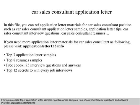 application letter for in company sle car sales consultant application letter