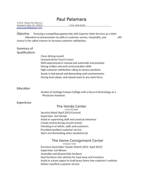 Sle Of Valet Parking Resume Professional Valet Attendant Resume Template