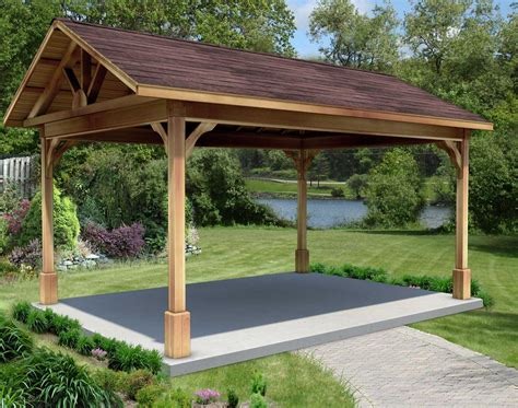 red cedar gable roof open rectangle gazebos  open