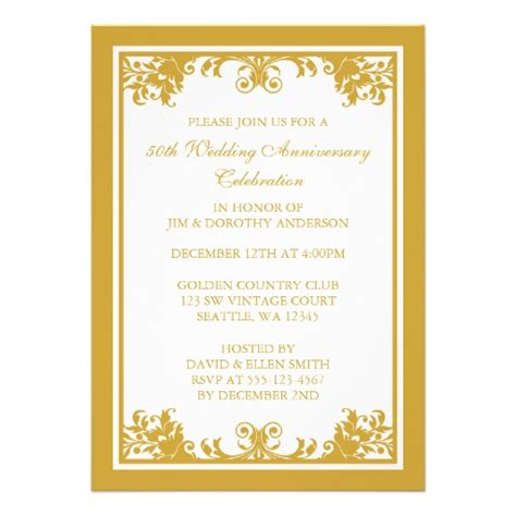 golden anniversary invitations templates personalized 50th anniversary invitations