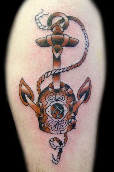 old diving helmet and anchor tattoo in colour