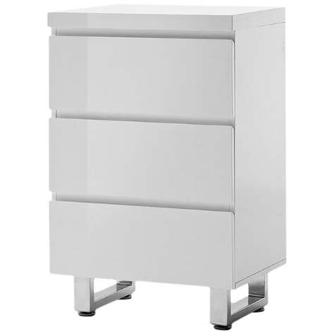 Bedroom Chest Of Drawers Sydney Sydney 3 Drawer Chest In White High Gloss With Chrome Base