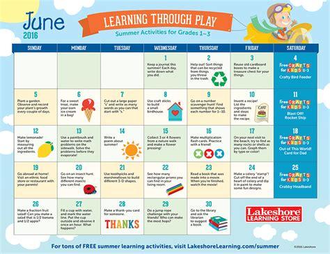 Summer Calendar Summer Learning Calendars At Lakeshore Learning