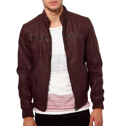 Jaket Bomber Atention Maroon s maroon color ban collar bomber biker leather jacket