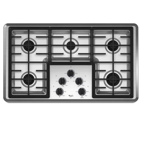 Gas Cooktop Lowes shop whirlpool 5 burner gas cooktop stainless common 36 in actual 37 625 in at lowes