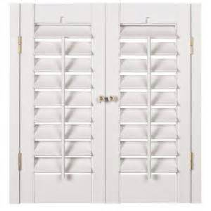 Interior Wood Shutters Home Depot Homebasics Plantation Faux Wood White Interior Shutter Price Varies By Size Qspa3536 The