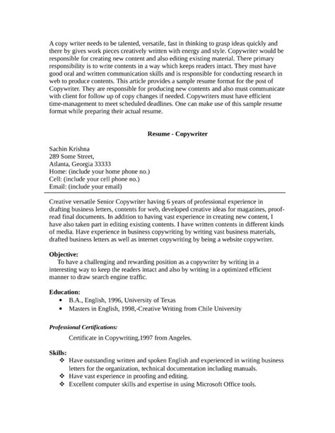 Copywriter Resume by Creative Copywriter Resume Template