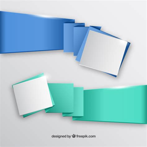 Origami Banner Vector - origami banners vector free