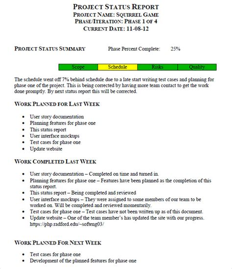 weekly project status report template status report templates free word pdf excel documents