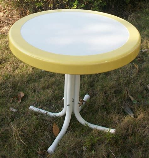 White Metal Patio Table Metal Retro Table In Yellow And White Contemporary Outdoor Dining Tables By Shopladder