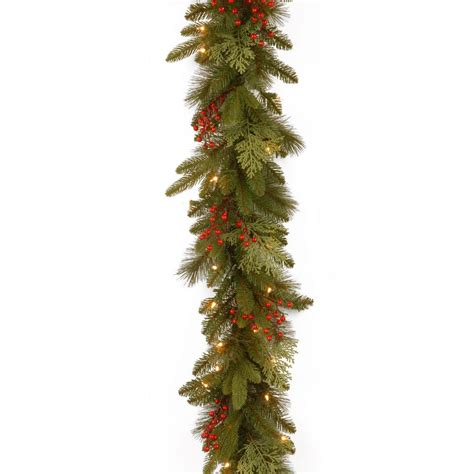 best xmas lighted garlands 100ft ge 36 ft classics artificial garland with 100 clear lights 84926hd the home depot