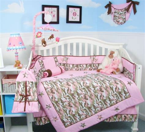 Pink Camo Baby Bedding Crib Set Trendy Pink Camouflage Baby Bedding For