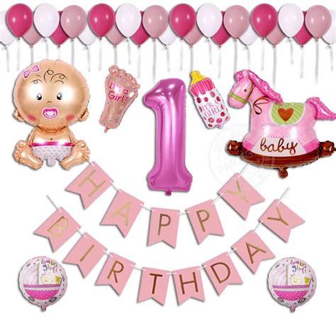 38pcs lot baby shower birthday balloon boy 1 year banner happy birthday
