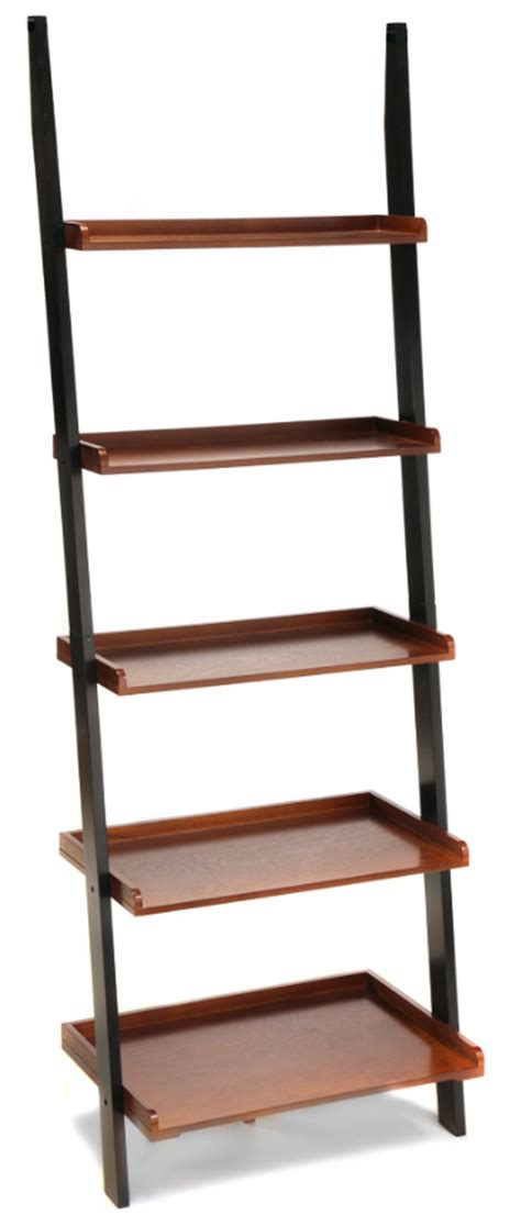 country leaning ladder bookcase wall book shelf