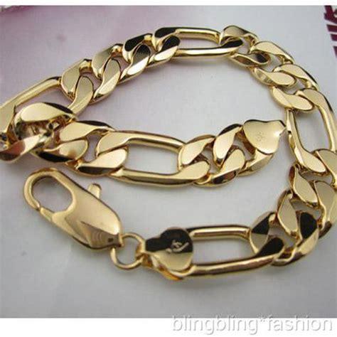 "18k Gold GF Solid Figaro link Chain Men's bracelet 9""12MM NEW   eBay"
