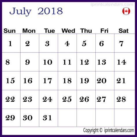 2018 Canadian Calendar July 2018 Calendar Canada Templates Tools