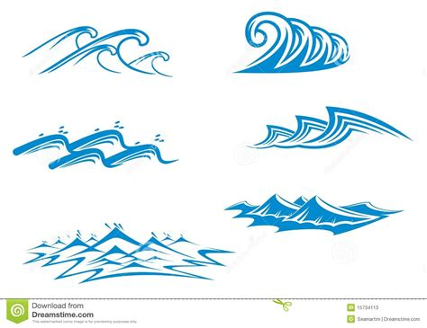 set of wave symbols stock vector image of cool flowing
