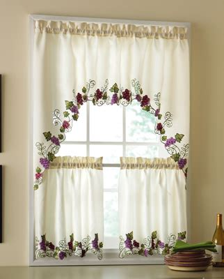 Embroidered Vineyard Cafe Curtain Set From Collections Etc