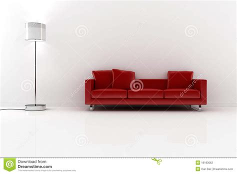 red and white couch 3d red couch and white walls stock photography image