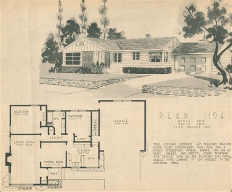 1950 L Shaped Ranch By Home Building Plan Service