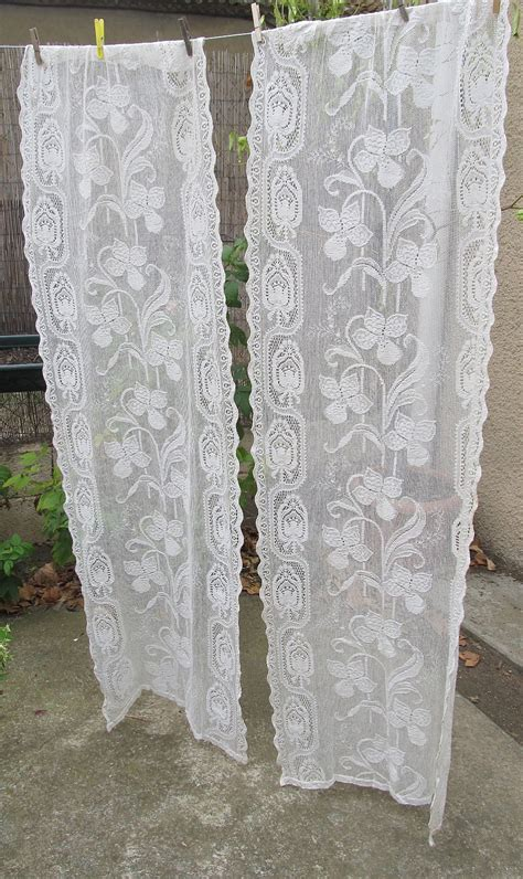 ecru vintage lace curtains cream french curtains lace