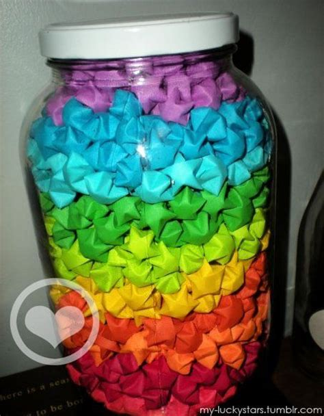 Origami Lucky Jar - origami wishing in different colored layers for each