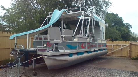 pontoon party boat with slide my double decker pontoon with a slide review youtube