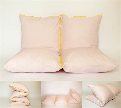 design inspiration pillows pink yellow couch extra bed pouf bench couch