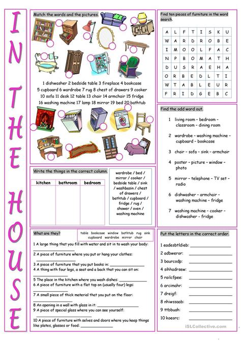 house printable exercises in the house vocabulary exercises worksheet free esl