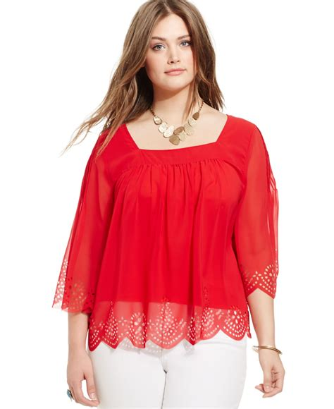 Virina Blouse plus size virginia perforated peasant blouse in lyst