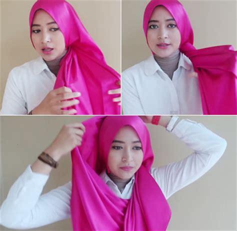 tutorial hijab formal wisuda tutorial hijab menutup dada dengan scarf satin untuk ke