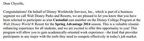 Disney College Program Acceptance Letter About My Disney College Program 2014 The Disney College Program