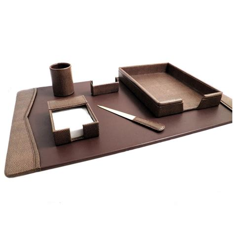 desk accessories set 6 desk set fossil leather brolero