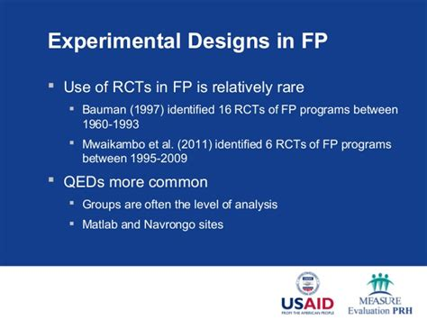 experimental design considerations evolution of family planning impact evaluation new