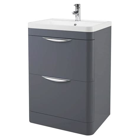 Grey Floor Standing L Monza Floor Standing Vanity Unit With Basin W600 X D445mm