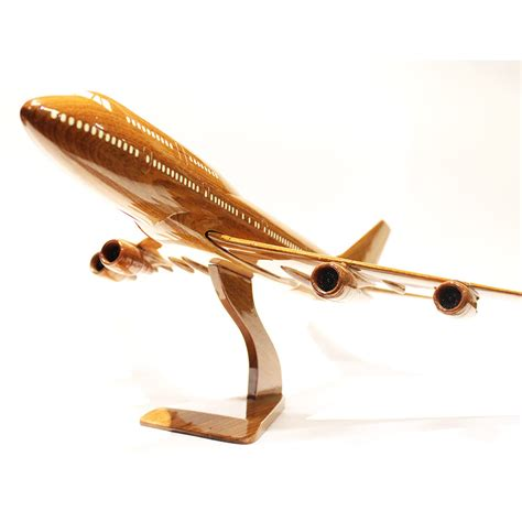 Sculpture For Home Decor by Boeing 747 Wooden Airplane Model Gift For Pilots B747