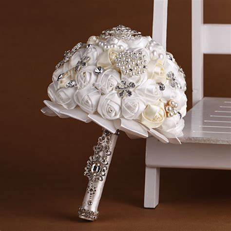 Handmade Wedding Bouquet - handmade flower bridal wedding bouquet pearls silk