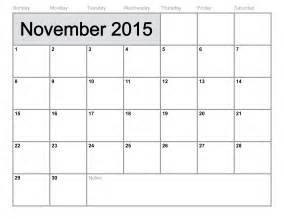 2015 Free Printable Calendar Template by 2015 Calendar Printable By November Calendar Template 2016