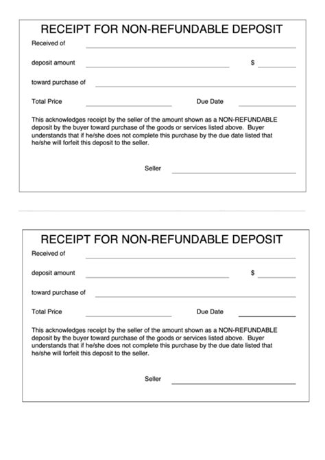 Receipt For Non Refundable Deposit Template by 26 Deposit Receipt Templates Free To In Pdf