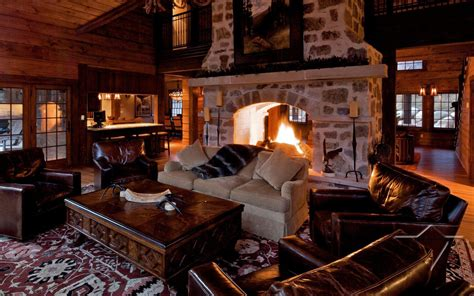 Living Room With Fireplace chalet roaring river in aspen colorado usa white