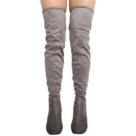 new womens thigh high the knee lace up stretch