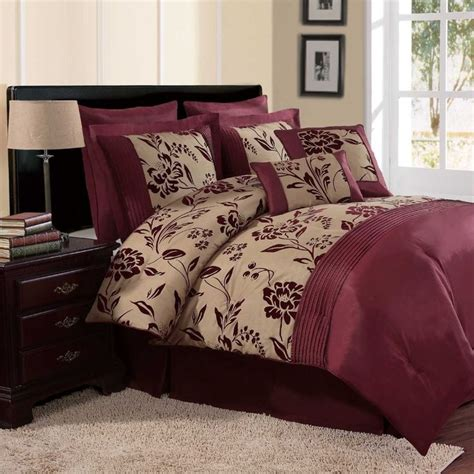 details  full queen cal king bed bag burgundy red black floral dots  pc comforter set