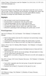 Furniture Sales Associate Cover Letter by Professional Furniture Sales Manager Templates To Showcase Your Talent Myperfectresume