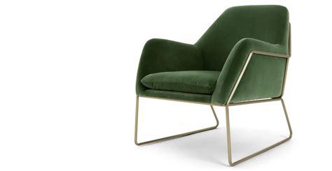 made com armchair frame fauteuil velours vert gazon made com