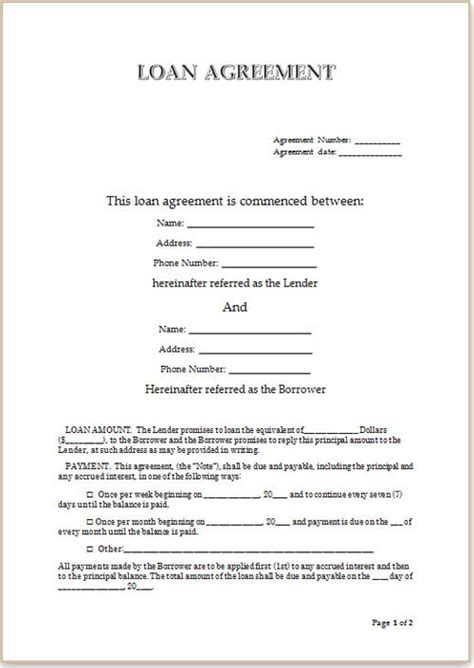 personal loan agreement template word person to person loan contract templates installment