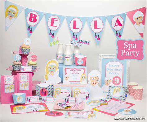 printable spa party decorations printable spa party collection creative little parties